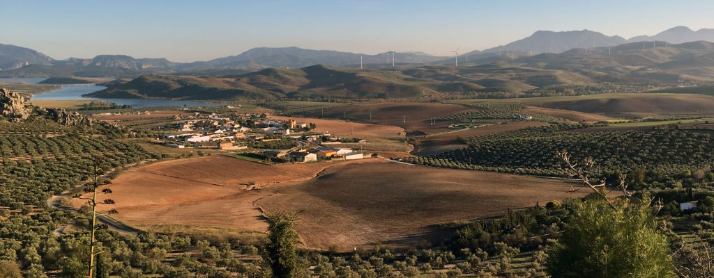 Vista del valle del Guadalhorce desde el castillo de la Estrella